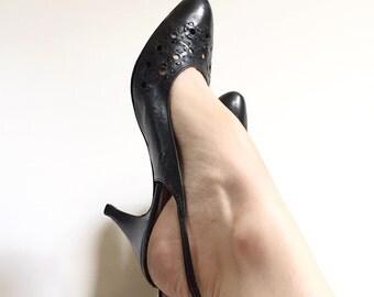 Vintage Black Perforated Leather Slingback Heels // 1980s