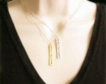Gold bar necklace, Personalized bar necklace, Gold bar pendant, State bar necklace,Two states or provinces, Friendship Necklace, Gold Filled
