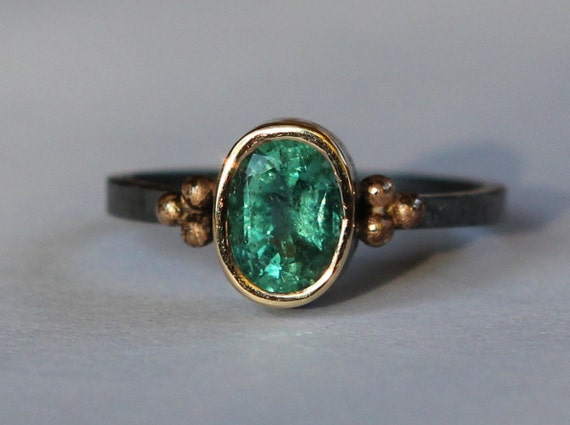 Hand Forged .98 CT Natural Columbian Emerald Ring Oxidized Sterling And 18K Gold SZ 5.5