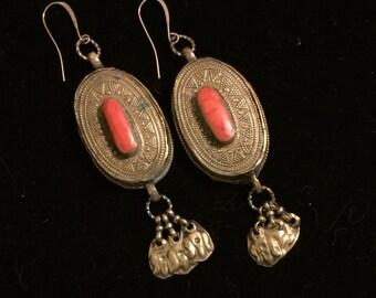 Afghan Silver & Coral Dangle Earrings