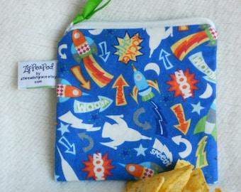 "Reusable Snack Sack, Mini Size - 5"" x 5""- Nylon lined, Machine Washable, Zippered, EcoFriendly"