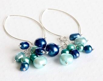 Pearl Cluster Earrings, Long Dangle Earrings, Blue Pearl Earrings, Freshwater Pearl Earrings, Sterling Silver Jewelry, Handcrafted Jewelry