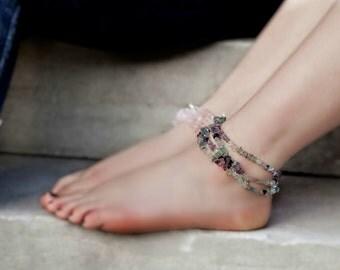 Boho Anklets For Women - Ankle Bracelet - Boho Jewelry - Boho Beach Anklet - Anklet Bracelet Set - Fluorite Gemstone Anklet - Beaded Anklet