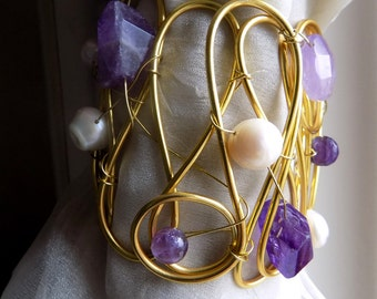 Decorative curtain tiebacks, golden with stones and pearls drapery holder tie backs curtain