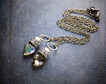 Vintage Faceted Glass Heart Pendant with Antique Silver Floating Crown and Pearl
