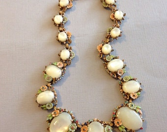 Antique Floral Enamel Necklace White Givre Glass Stones.
