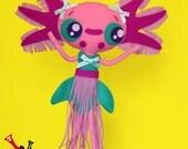 RESERVED Axolotl felt ooak doll handmade AXOLOTI