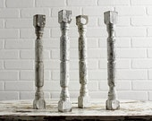 4 Vintage Balusters - Architectural Salvage - Chippy Old White Paint