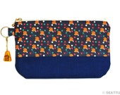 "Orange Apollo's Zipper Pouch (Two-Tone, Holland Lop / Lop eared bunny, Navy) + ""Bunny in Amber"" Resin Charm for Bunny Lovers"