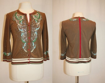 1990's Brown Glitter Cardigan Small Embroidery Sequins Stretchy Funky Vintage REtro 90's Embellished Stripes Brown Red Aqua White Hipster