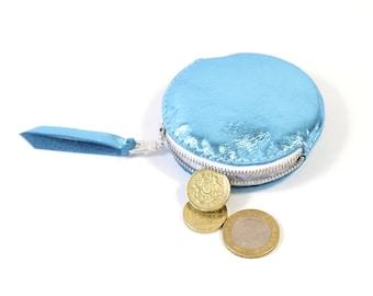 Handmade Round Blue Leather Zip Coin Purse.