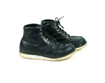 Black Leather RED WING Moc Toe Hiking Boot, Size 9 1/2 D