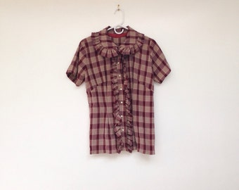 Vintage 1970s Red Plaid Ruffled Peter Pan Collared Top