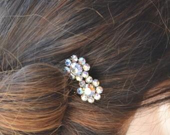 VintageRhinestone Bridal Bobby Pins, Bridal Hair Pins, Wedding Bobby Pins, Crystal Bridesmaid Hairpins, Aurora Borealis Crystal Pins