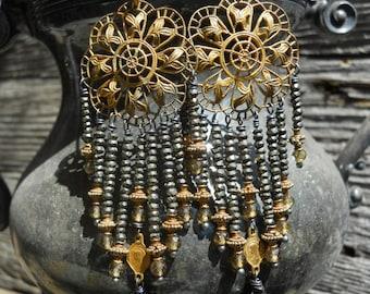 Eternal Light            Vintage Gilt Filigree Religious Medal Chandelier Earrings