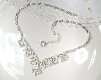 1920s Rhinestone Bridal Necklace, Art Deco Vintage Wedding Statement Jewelry, Clear Pave Crystal Silver Statement Edwardian Geometric Albion