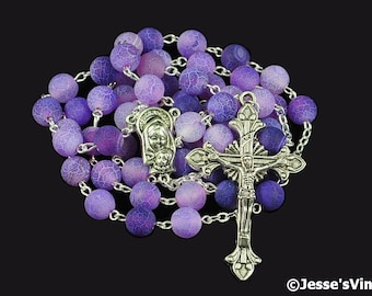Catholic Rosary Beads Purple Frosted Agate Natural Stone Silver Traditional Five Decade