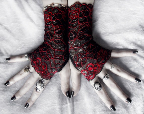 Celosia Lace Fingerless Gloves - Black Deep Red Metallic Embroidered Floral - Gothic Vampire Tribal Regency Bellydance Goth Fetish Mourning