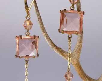 Vintage Peach Glass Dangle Earrings With Lever Back Ear Wires