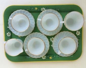 Vintage Anchor Hocking Fire King Swirl Golden Shell Milk Glass: Cups & Saucers, Creamer, Sugar Bowl