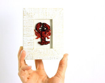 Punchneedle Lobster in a Mini Weathered White Frame. Punchneedle Embroidery Fiber Art. Office, Kitchen Decor. Red and White. Maine Decor
