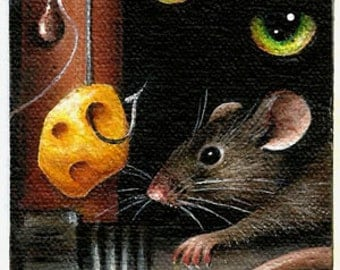 """2 1/2"""" X 3 1/2""""  ACEO                 """"Don't Take the Bait"""" Cat 'n Mouse                   Original Acrylic Painting"""