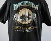 SALE - Vintage Harley Davidson Scottsdale Hacienda Desert Cactus Native  Dreamcatcher Tee Shirt - Mens Size Large