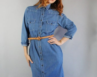 Vintage 80s Women's Cotton Blue Denim Western Snap Button Fall Winter Wear to Work Rustic Casual Day Dress Shirtdress