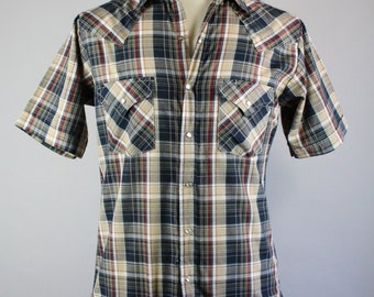 SALE - Vintage 80s Snap Button Plaid Western Shirt - Navy Blue Brown Plaid  - Mens Size Small