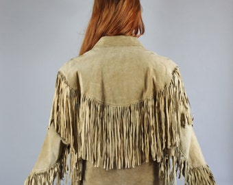 Vintage 70s Women's Tan Brown Fringe Suede Boho Southwest Rocker Country Hippie Jacket