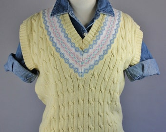 Vintage 90s Women's Eddie Bauer Cotton Yellow Preppy Cable Knit Spring Summer Sweater Vest