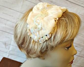 White Wedding  Hat - White Sequin Hat - Ivory Wedding Hat - Ivory Band Hat - 1960s Garden Party Hat - Summer Wedding Hat