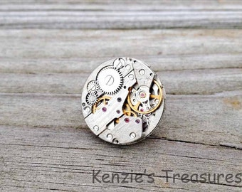 Steampunk Pin/Broach/Tie Pin ~ Vintage Russian Zarja Watch Movement