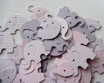 Purple Elephant Die Cuts - Table Confetti - Purple Baby Shower Decoration - Paper elephants Wedding decoration