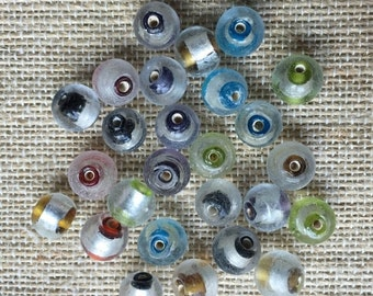 ON SALE 8mm Round Silver Foil Glass Beads - 26