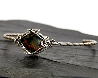 Jasper Bracelet, Silver Cuff Bracelet, Wire Wrap Bracelet, Silver Bracelet, Silver Bangle, Vintage Style Bracelet, Boho Bracelet