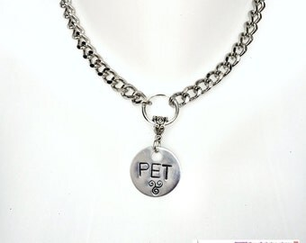 "BDSM Day Collar Personalized Engraved with ""PET"" and Triskele for Submissive or Slave Choker Necklace Locking or Lobster Clasp Ships FAST"