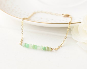 Chrysophrase Gemstone Bar Bracelet - Layering - Sterling Silver & 14k Gold Filled