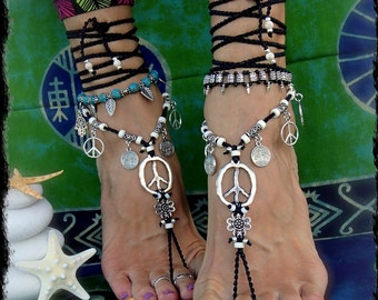 Flower PEACE sign BAREFOOT sandals Black and White YOGA jewelry Crochet anklet sandal Festival accessories Garden wedding footwear GPyoga