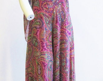 1970s Oscar De la Renta Paisley and Gold Metallic Chiffon Jumpsuit Small