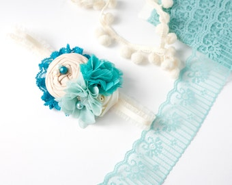 Made My Bay - teal aqua and ivory linen rosette and chiffon flower headband bow with lace