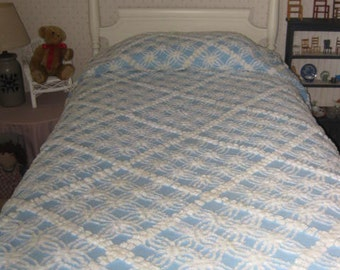 Blue And White Vintage Chenille Bedspread