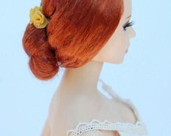 Handmade wig red bun for  doll Ficon, Numina, Deva, Sybarite, Tonner etc