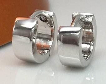 Silver orbed tube earrings, men's hoop earrings, tiny hoop earrings, wide huggie hoop earring, sterling silver posts, E114SW
