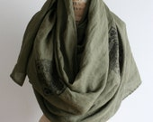 Reserved for Judy Celtic Cross Scarf, Linen Scarves, Green, Ireland