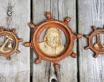 Vintage Ship's Wheel Trio Wall Decor- Old Man O' the Sea, Anchor, and Lighthouse resin wall plaque circa 1960