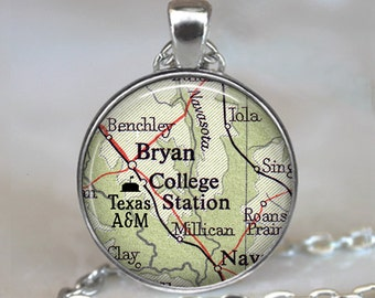 Texas A&M necklace, university pendant, alumni gift alumni jewelry graduation gift Bryan TX key chain key ring College Station map pendant