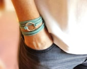 Molten Infinity Circle Bracelet - Tie On Long Faux Leather Wrap Bracelet with Silver or Gold Ring