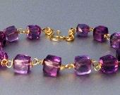14k Purple Amethyst Bracelet, 14k Solid Gold Amethyst Bracelet, Purple Amethyst Bracelet, 14k Gold Purple Amethyst Bracelet