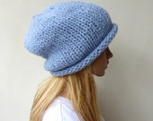 Pastel Blue Slouchy Hat Slouch beanie Hand knit hat blue hand knitted slouch beanie